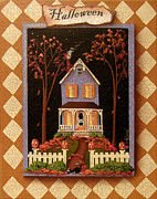 Halloween Folk Art Posters - Halloween Hill Poster by Catherine Holman