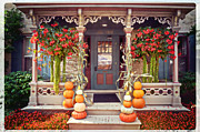 Halloween House Posters - Halloween in a Small Town Poster by Mary Machare