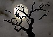 Spooky Moon Posters - Halloween Poster by Jim Wright