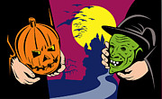 Castle Illustration Posters - Halloween Mask Jack-O-Lantern Witch Retro Poster by Aloysius Patrimonio