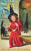 Fairy Tale Witch Metal Prints - Halloween Night Out Metal Print by Hulton Archive