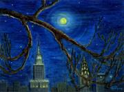 Folkartanna Painting Metal Prints - Halloween Night over New York City Metal Print by Anna Folkartanna Maciejewska-Dyba