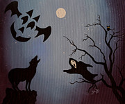 Wolf Howling Paintings - Halloween Night Party original painting placemat doormat by Georgeta  Blanaru
