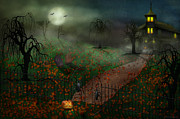Night Scenes Posters - Halloween - One Hallows Eve Poster by Mike Savad