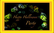 Invitation Card Mixed Media Posters - Halloween Party Poster by Debra     Vatalaro