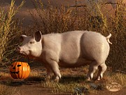 Barn Digital Art Prints - Halloween Pig Print by Daniel Eskridge