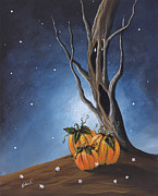 Fantasy Art Framed Prints - Halloween Pumpkin art The Guardian by Shawna Erback Framed Print by Shawna Erback
