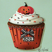 Primitive Folk Art Prints - Halloween Pumpkin Cupcake Print by Catherine Holman