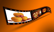 Filmstrip Framed Prints - Halloween Pumpkin Film Strip Framed Print by Christopher and Amanda Elwell