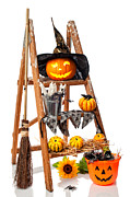 Carved Pumpkin Framed Prints - Halloween Pumpkin Step Ladder Framed Print by Christopher Elwell and Amanda Haselock