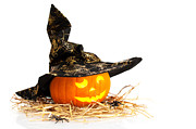 Carved Pumpkin Prints - Halloween Pumpkin With Witches Hat Print by Christopher and Amanda Elwell
