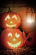 Candle Lit Prints - Halloween Pumpkins Print by Christopher and Amanda Elwell