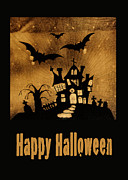 Haunted House Photo Posters - Halloween quilt top Poster by Nancy Greenland