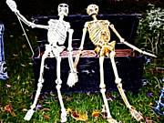 Fractalius Framed Prints - Halloween Skeleton couple Framed Print by Darleen Stry