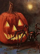 Scary Paintings - Halloween Spider by Tom Shropshire