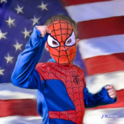 Spiderman Digital Art Prints - Halloween Spidy Print by Jeanette Mahoney