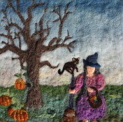 Felted Tapestries - Textiles Prints - Halloween Witch and Cat and Pumpkins Print by Nicole Besack