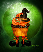 Halloween Card Mixed Media Posters - Halloween - Witch Cupcake Poster by Carol Cavalaris