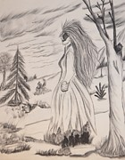 Charcoals Drawings Framed Prints - Halloween Witch Walk Framed Print by Maria Urso