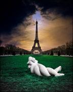Paris Digital Art Posters - Hallucinating In Paris Poster by Chris Lord