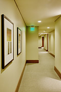 Exit Sign Framed Prints - Hallway of a Hotel Framed Print by Andersen Ross