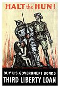 Wwi Propaganda Prints - Halt The Hun Print by War Is Hell Store
