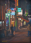 Netherlands Paintings - Halvemaansteeg Amsterdam - Night Scene by Alex Vishnevsky