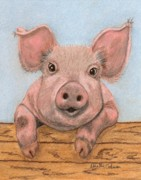 Pig Pastels Framed Prints - Ham and Eggs Framed Print by Dorothy  Oakman