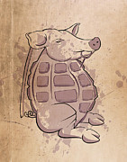 Pig Digital Art Posters - Ham-grenade Poster by Joe Dragt