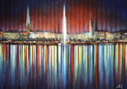 Hamburg Paintings - Hamburg Alster fountain and Town Hall by Agris Rautins