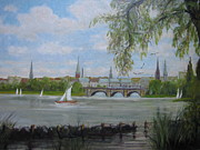 Hamburg Paintings - Hamburg by Antje Martens-Oberwelland