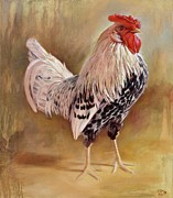 Hamburg Painting Prints - Hamburg Rooster Print by Hans Droog