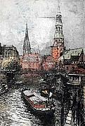 Hamburg Paintings - Hamburg Zoll Canal by Luigi Kasimir