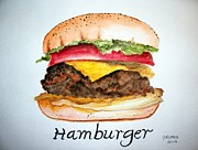 Lettuce Painting Prints - Hamburger 1 Print by Carol Grimes