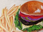 Fries Painting Framed Prints - Hamburger And Fries Framed Print by Irit Bourla