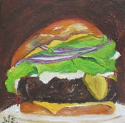 Fast Food Painting Framed Prints - Hamburger Heaven Framed Print by Irit Bourla