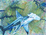 Sharks Paintings - Hamerhead Shark   by Allen Vandever