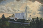 Blue White Prints - Hamilton New Zealand Temple Print by Jeff Brimley