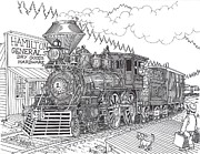 Train Station Drawings - Hamilton Train Stop by Bill Friday