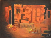 Night Lamp Painting Originals - Hamlet by Jagdish Karial