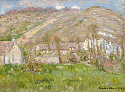 Impressionism Posters - Hamlet on the Cliffs near Giverny Poster by Claude Monet