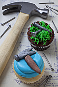 Blueprint Photo Prints - Hammer cupcake Print by Garry Gay