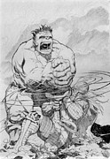 Hulk Drawings - Hammer Down by Jose Gamboa