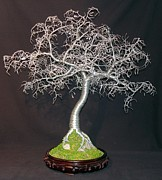 Work Sculptures - Hammered Leaves Bonsai  by Sal Villano