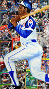 Baseball Hall Of Fame Mixed Media Framed Prints - Hammering Hank Aaron Framed Print by Michael Lee