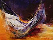 Featured Painting Prints - Hammock at Sunset Print by Lois Romei Schlowsky