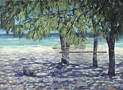 Bahamas Painting Metal Prints - Hammock for Two Metal Print by Danielle  Perry
