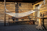 Old Wood Cabin Posters - Hammock on a Cabin Porch Poster by Jaak Nilson