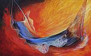 Beach Sunset Paintings - Hammock with Lace by Lois Romei Schlowsky