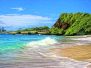 Haleiwa Paintings - Hamoa Shorebreak by Dominic Piperata